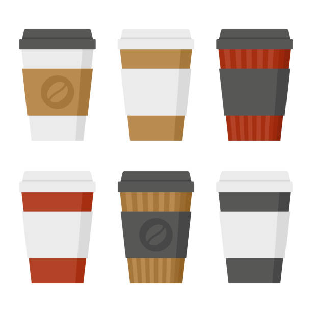 Coffee Cup Set on White Background Coffee Cup Set on White Background. Flat Style Vector illustration coffee cup stock illustrations