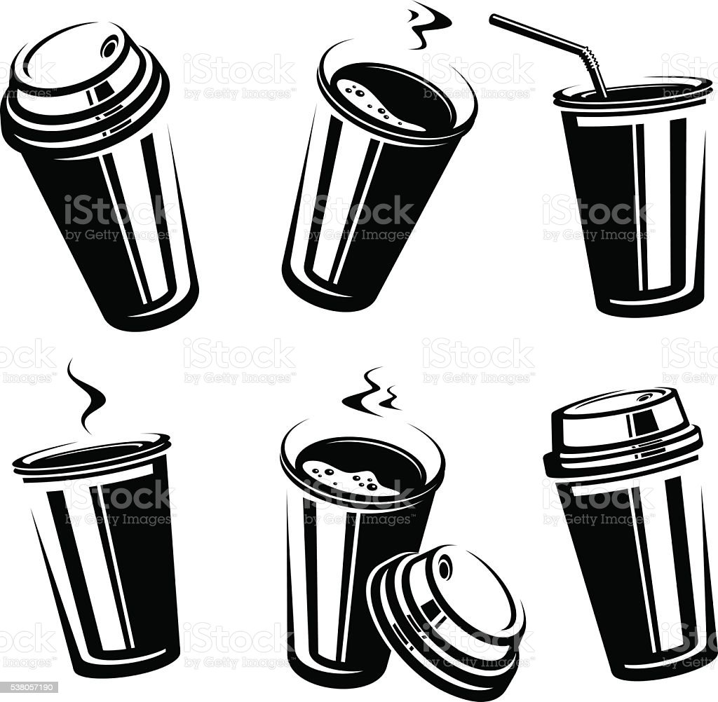 Coffee cup set. Vector vector art illustration
