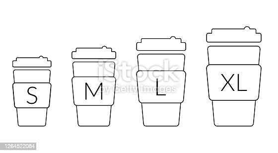 Coffee cup size S M L XL. Different size - small, medium, large and extra large. Vector outline coffeecup icons set