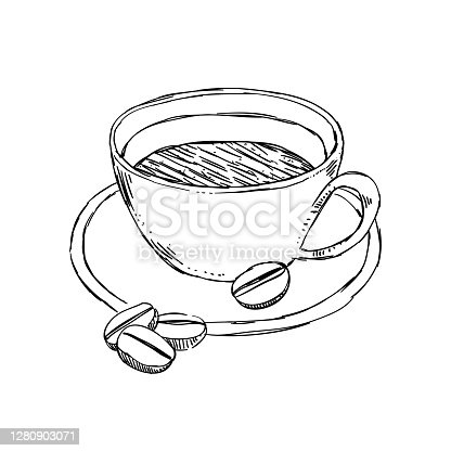 Coffee cup sketch style illustration. Vector cup of coffee isolated on white background