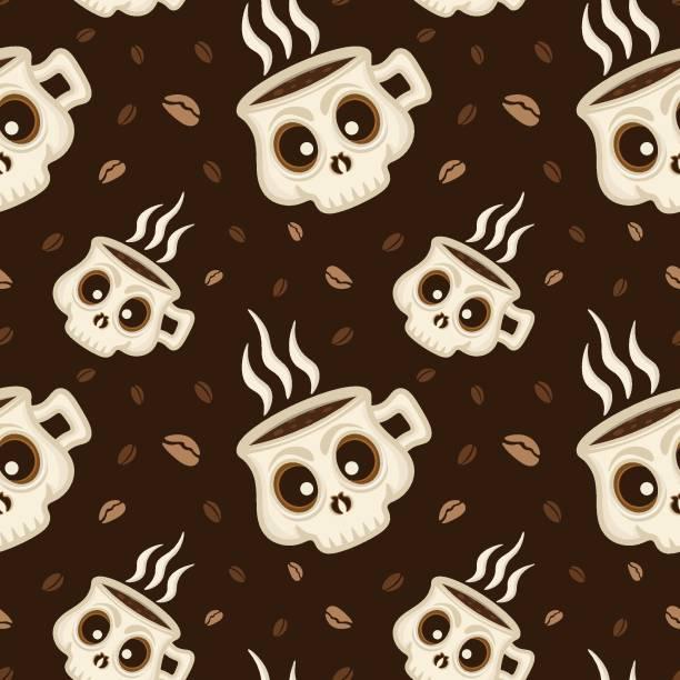 bildbanksillustrationer, clip art samt tecknat material och ikoner med kaffekopp skalle sömlös mönster bakgrund - coffe with death