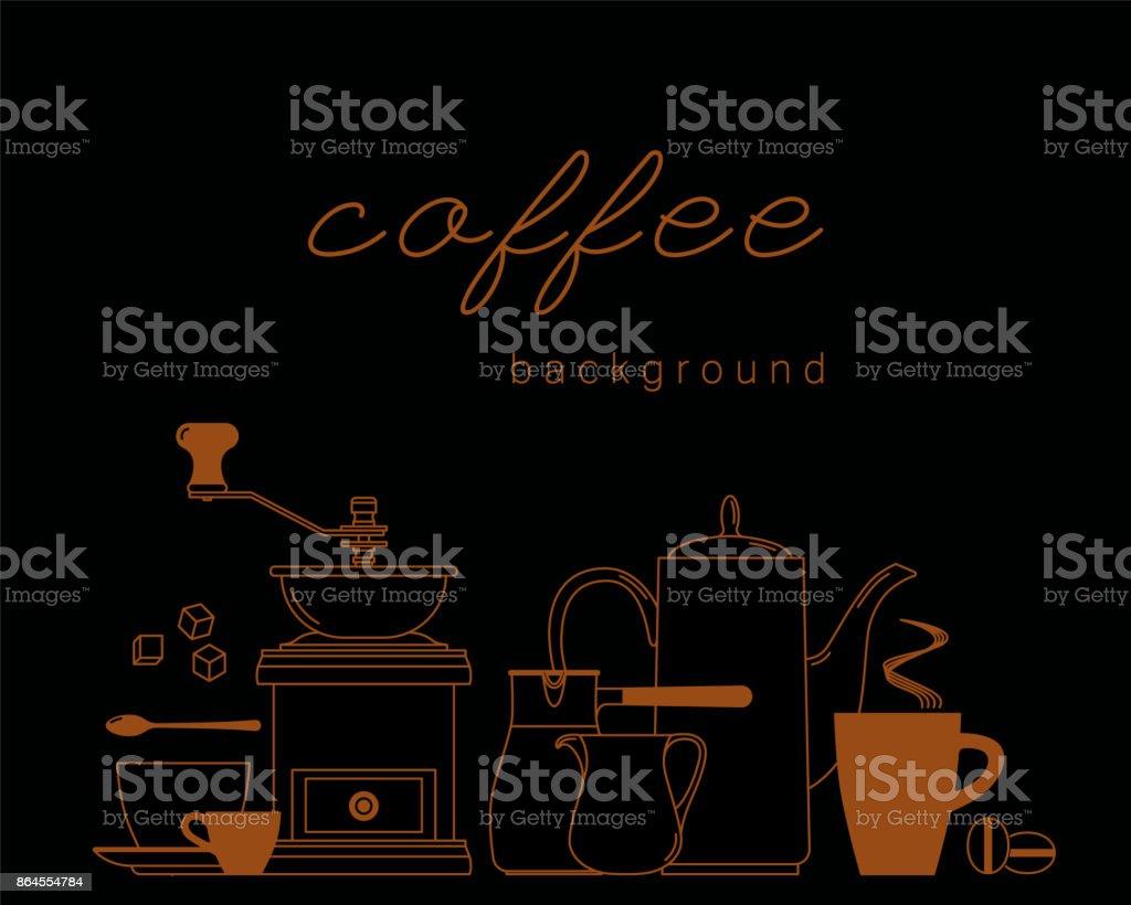 Xícara de café, colher, cubos de açúcar, feijão, arremessador, cezve, moedor, pot. Ícones de lineares. De fundo Vector. - ilustração de arte em vetor