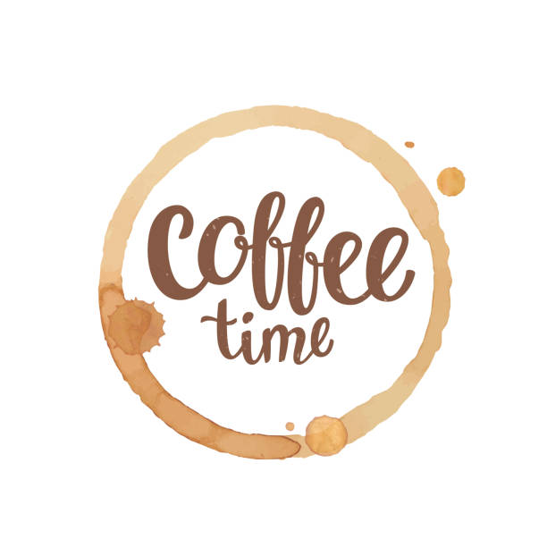 Coffee cup stain and drops with Coffee time lettering. Coffee cup stain and drops with Coffee time lettering. Vector illustration. espresso stock illustrations