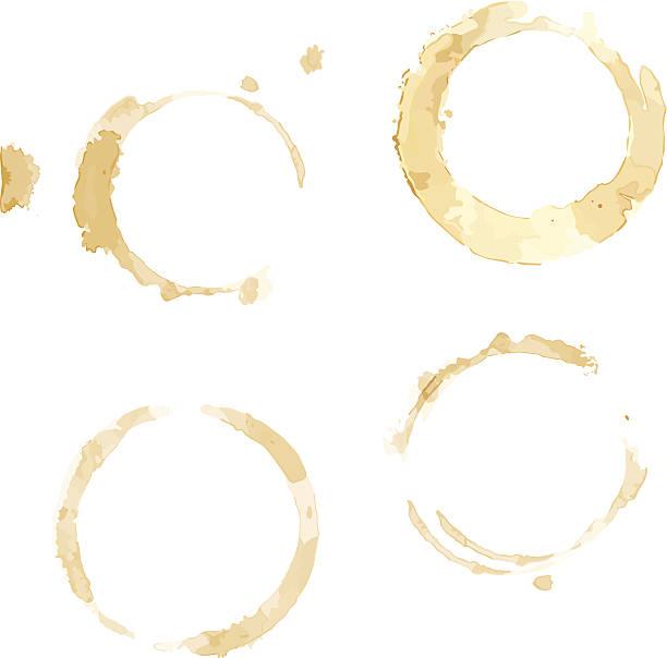 커피잔을 얼룩제거 - 때묻은 stock illustrations