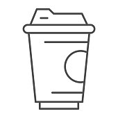 istock Coffee cup thin line icon, drinks concept, Coffee take away sign on white background, Disposable paper cup icon in outline style for mobile concept and web design. Vector graphics. 1250165546