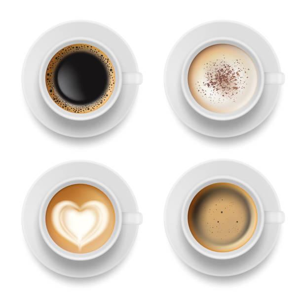 coffee cup top. hot milk espresso latte breakfast tea time vector realistic template - cappuccino stock illustrations