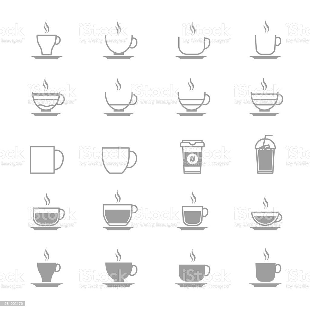 Coffee Cup Vector Icons Line Set Of Vector Design Illustration vector art illustration