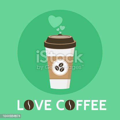 istock Coffee cup vector illustration. Love Coffee signe. Paper coffee cup in flat style. Isolated on green background 1044934874