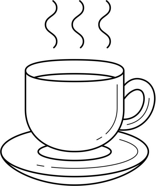 coffee cup vector line icon - stacked tea cups stock illustrations, clip art, cartoons, & icons