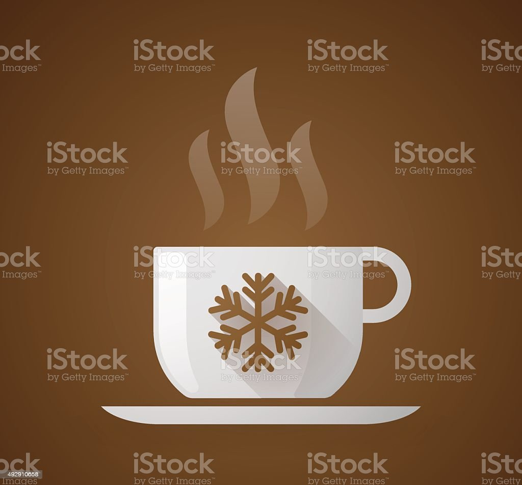 Coffee cup with a snow flake vector art illustration