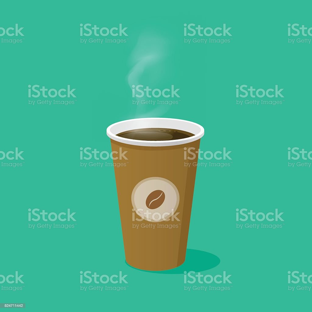 Coffee Cup With Bean Logo And Steam Vector Illustration