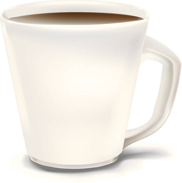 Coffee cup with blank white front vector art illustration
