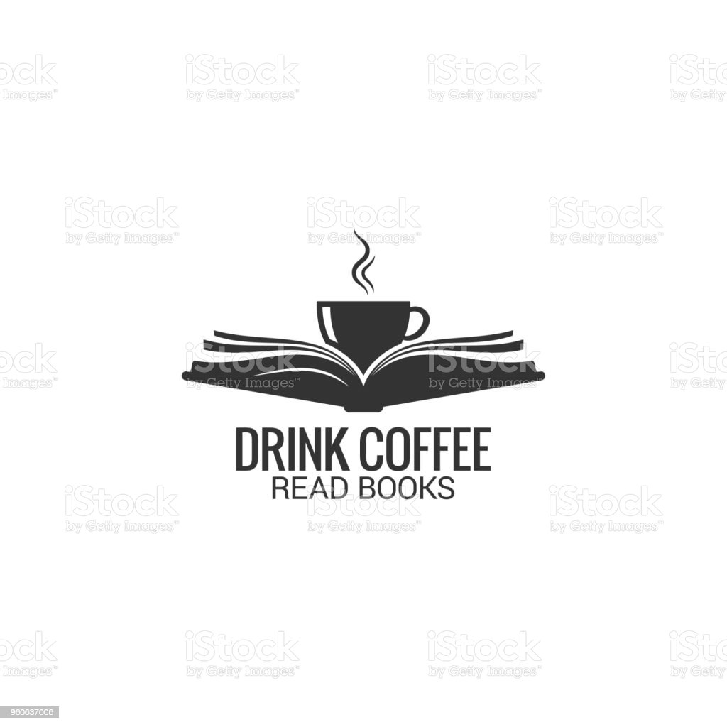 Coffee cup with book concept. Drink coffee read book on white background - Royalty-free Aberto arte vetorial