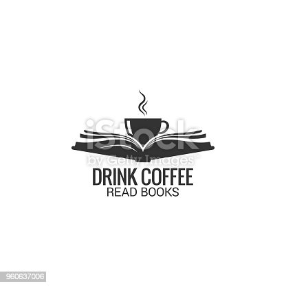 Coffee cup with book concept. Drink coffee read book on white background 8 eps