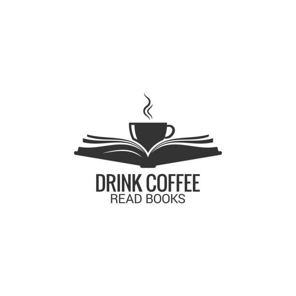 ilustrações, clipart, desenhos animados e ícones de copo de café com o conceito do livro. bebo café ler livro sobre fundo branco - aberto