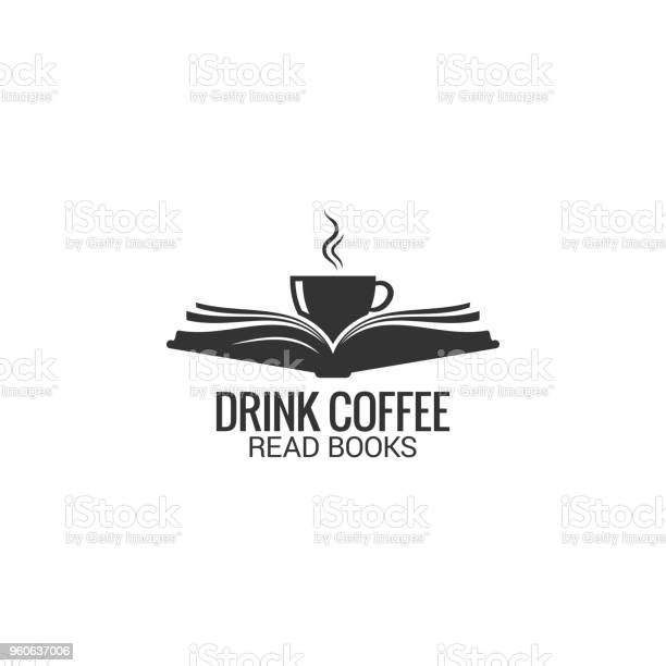 Coffee Cup With Book Concept Drink Coffee Read Book On White Background - Arte vetorial de stock e mais imagens de Aberto