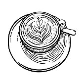 istock Coffee cup with cappuccino. Black and white sketch of coffee mug. Vector illustration 1299012464
