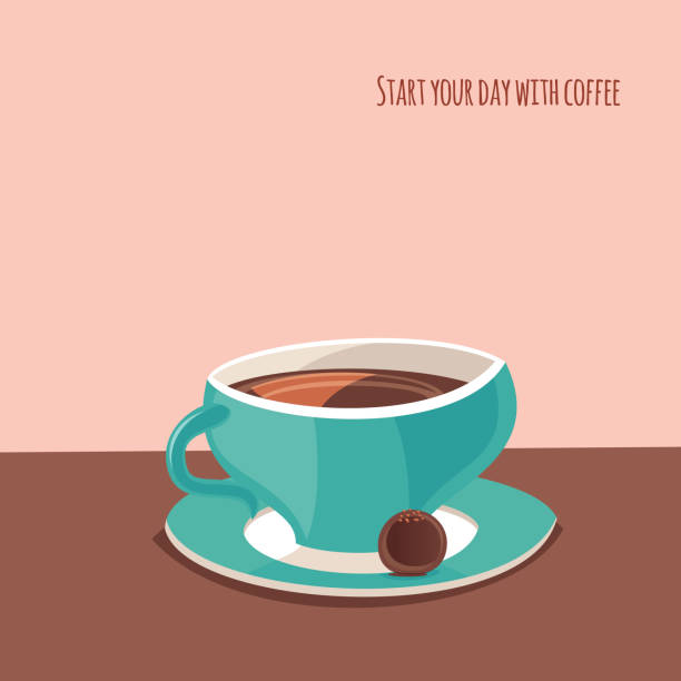 Coffee cup with chocolate vector art illustration