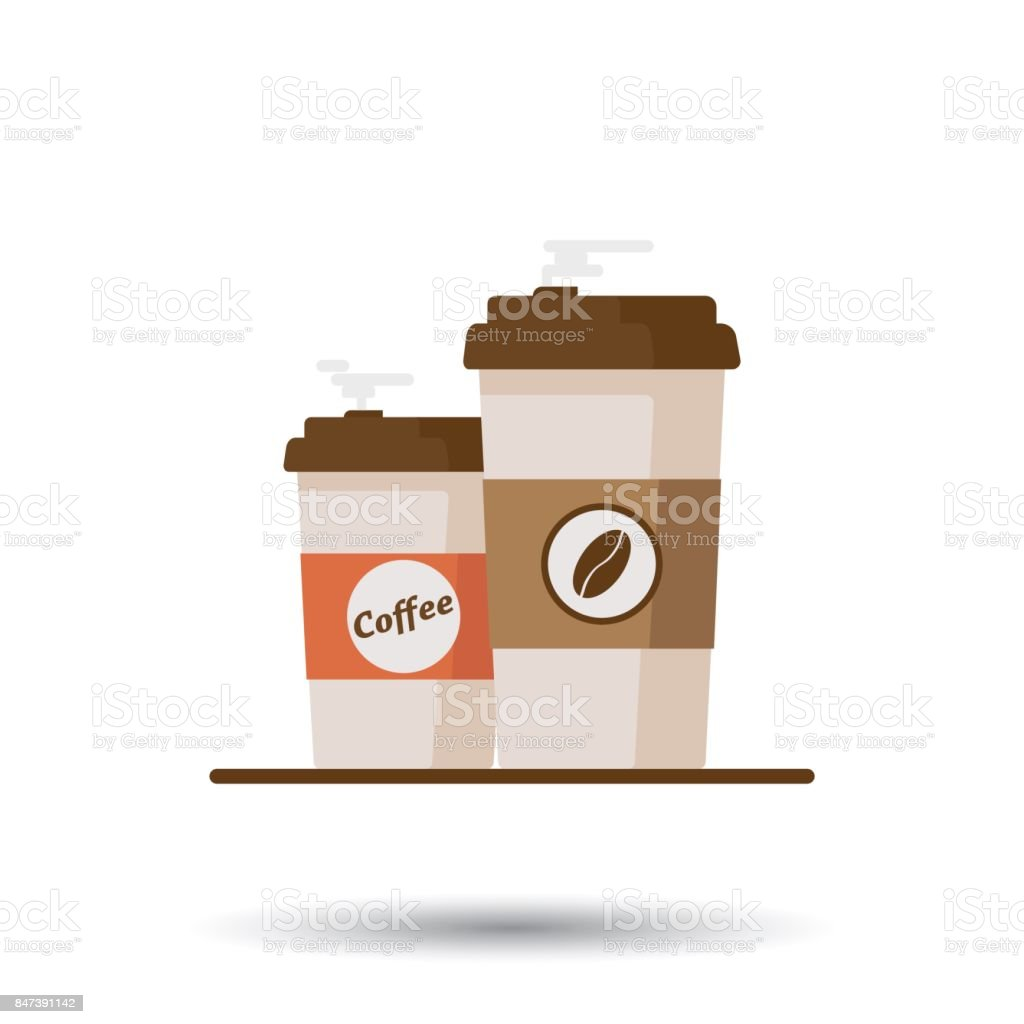 Coffee cup with coffee beans on white background. Flat vector illustration vector art illustration