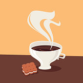 Coffee cup with cookie. Vector illustration.