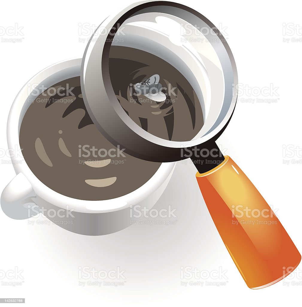 Coffee cup with dead fly royalty-free stock vector art