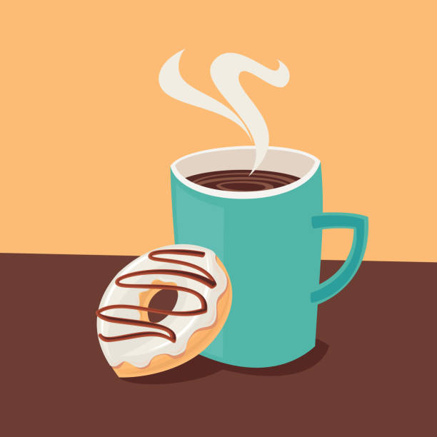 Coffee cup with donut vector art illustration