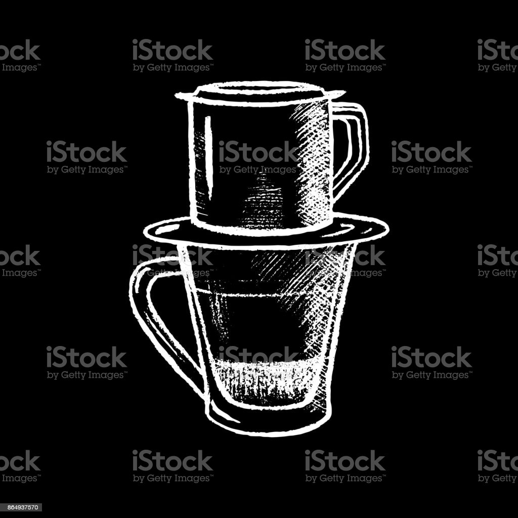 Coffee Cup With Filter White Chalk On Black Chalkboard Vector Illustration Stock Illustration Download Image Now Istock