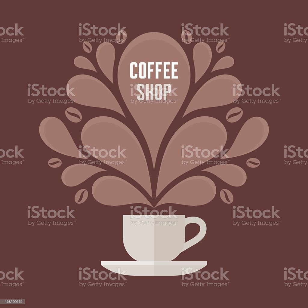 Coffee Cup with Floral Vintage Design Elements vector art illustration