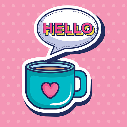 coffee cup with heart pop art style