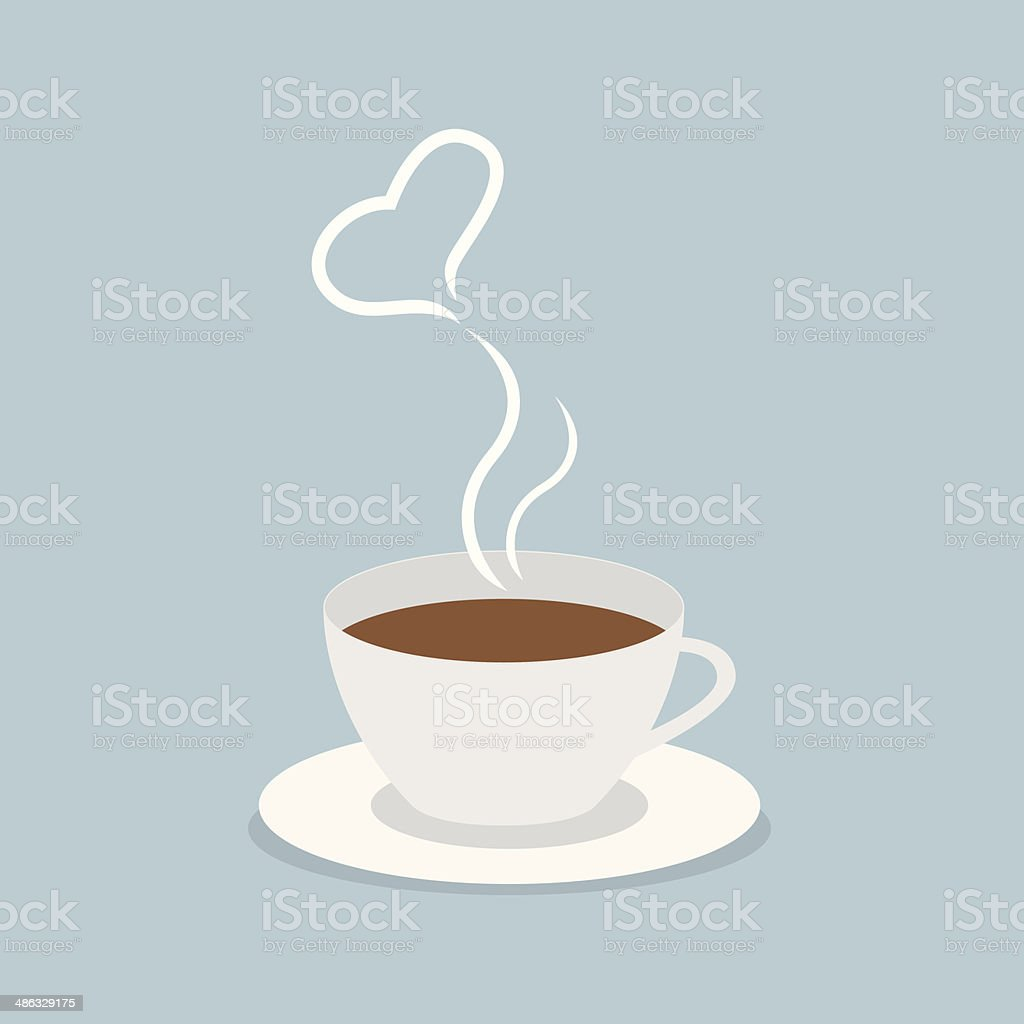 Coffee cup with heart vector art illustration