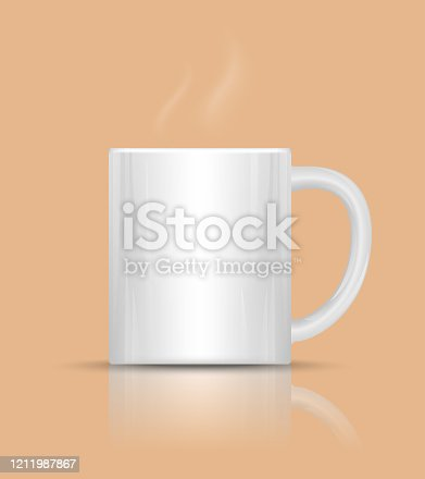 Coffee cup with hot steam. White ceramic mug. Vector Illustration.