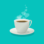 Coffee cup with love hearts as a smoke or steam, flat cartoon coffee mug isolated on color background