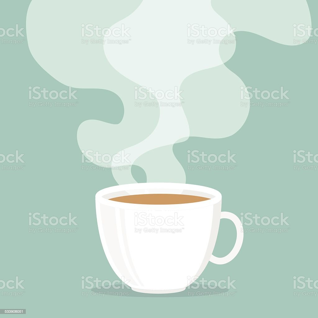 Coffee cup with smoke float up. vector art illustration