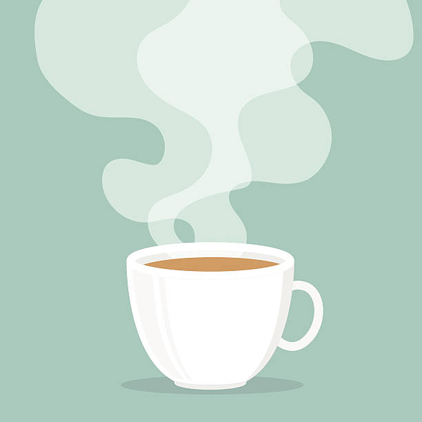 coffee cup with smoke float up. - coffee stock illustrations, clip art, cartoons, & icons