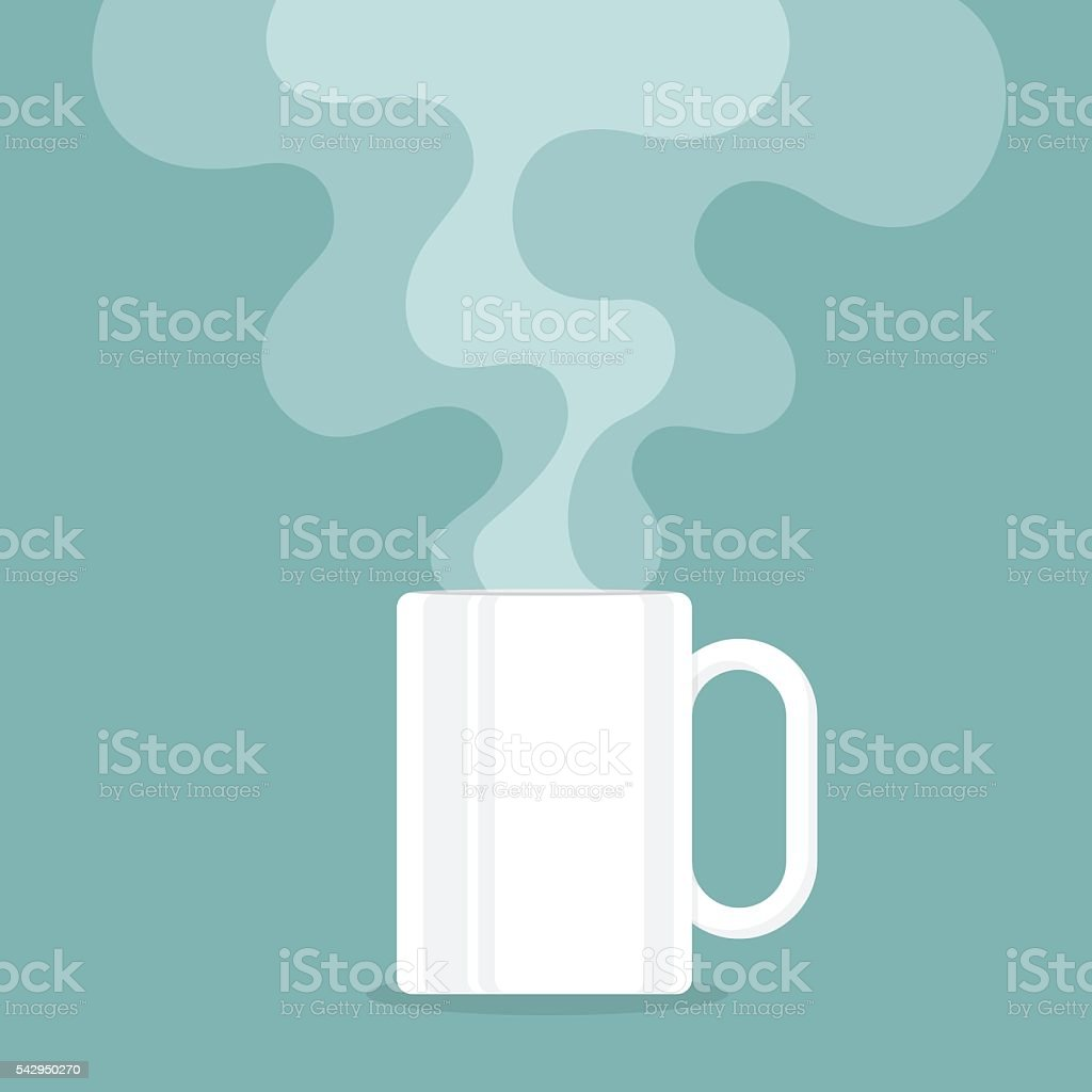Coffee cup with smoke float up. vector illustration vektör sanat illüstrasyonu