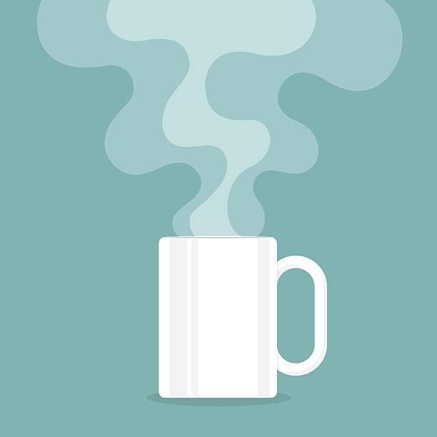 illustrations, cliparts, dessins animés et icônes de tasse à café avec de la fumée flotte minimum. illustration vectorielle - tasse flat