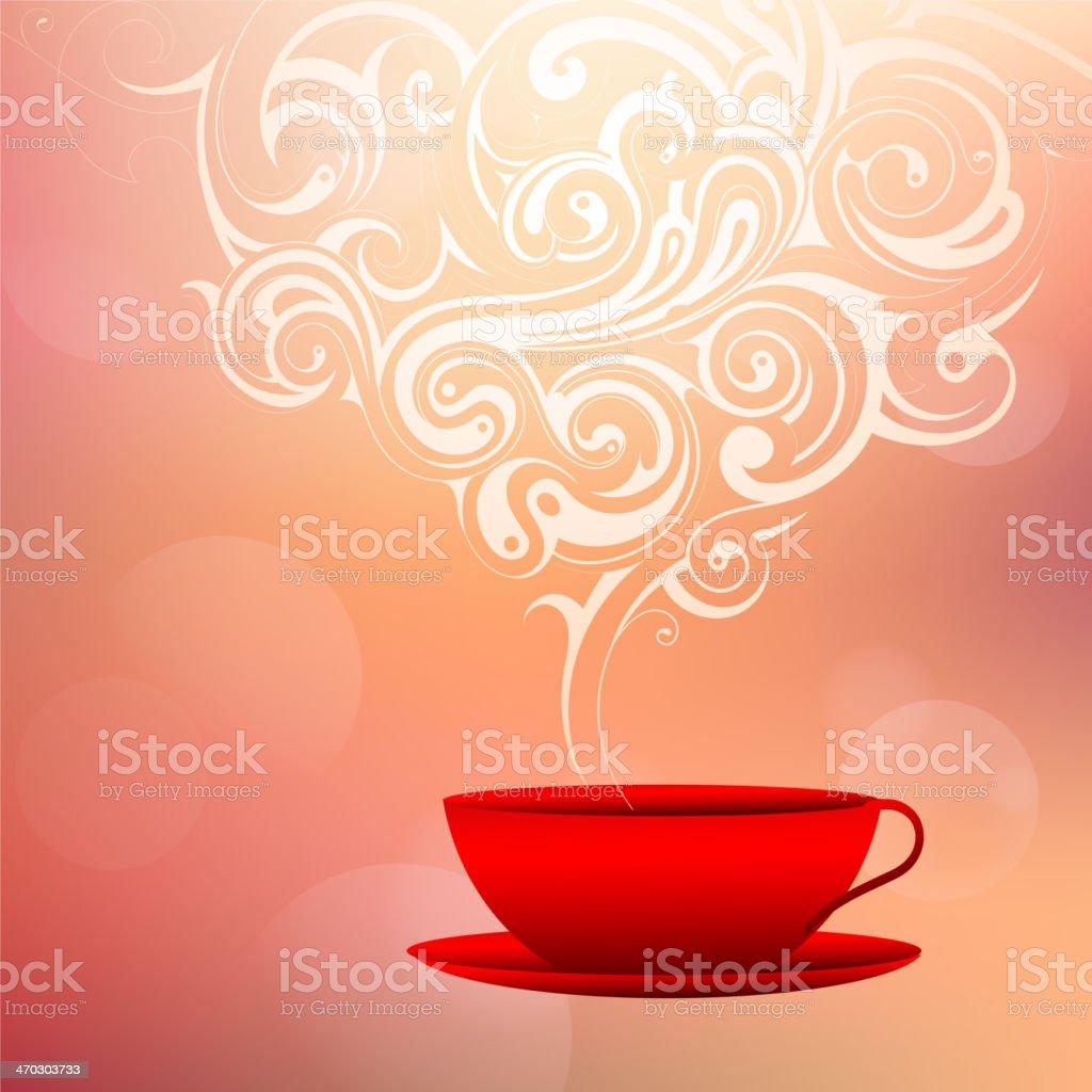 Tasse à Café Avec De La Vapeur Décoration Bonjour Concept De