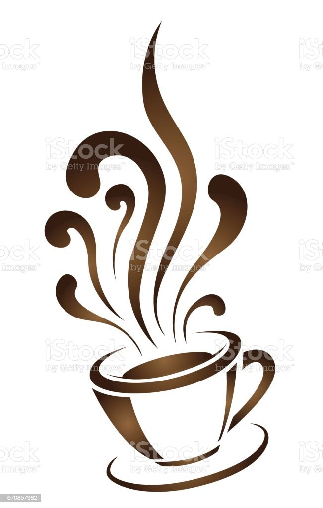 Coffee Cup With Stylized Steam Hand Drawn Vector ...