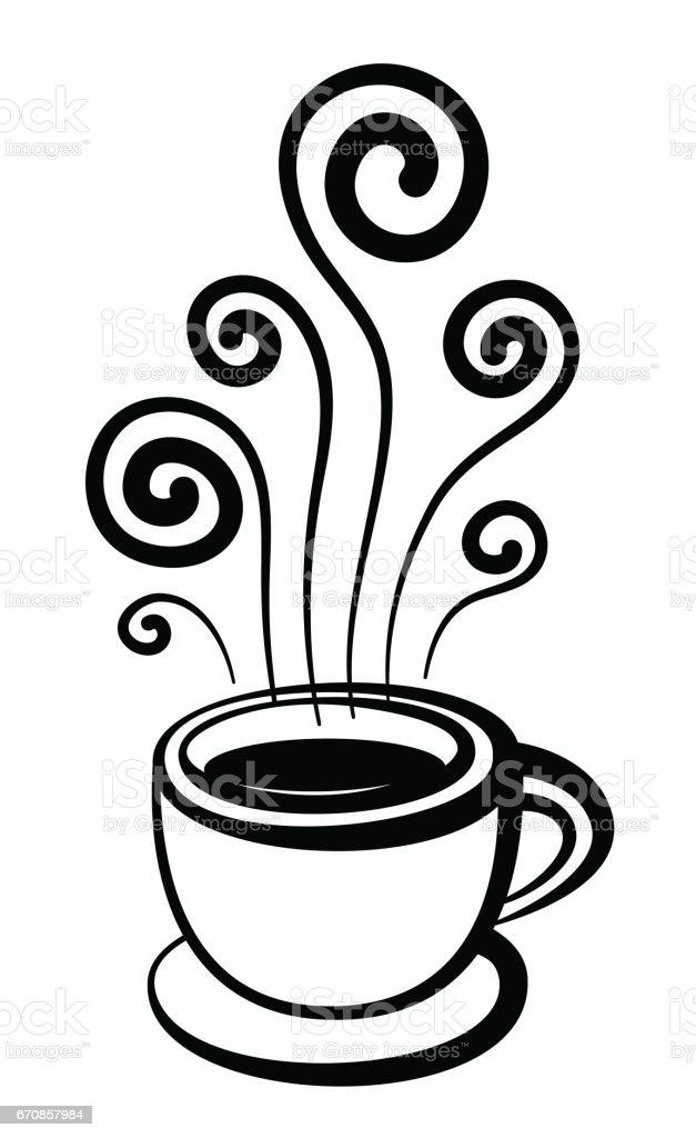 Kaffeetasse Mit Stilisierten Dampf Hand Gezeichnet