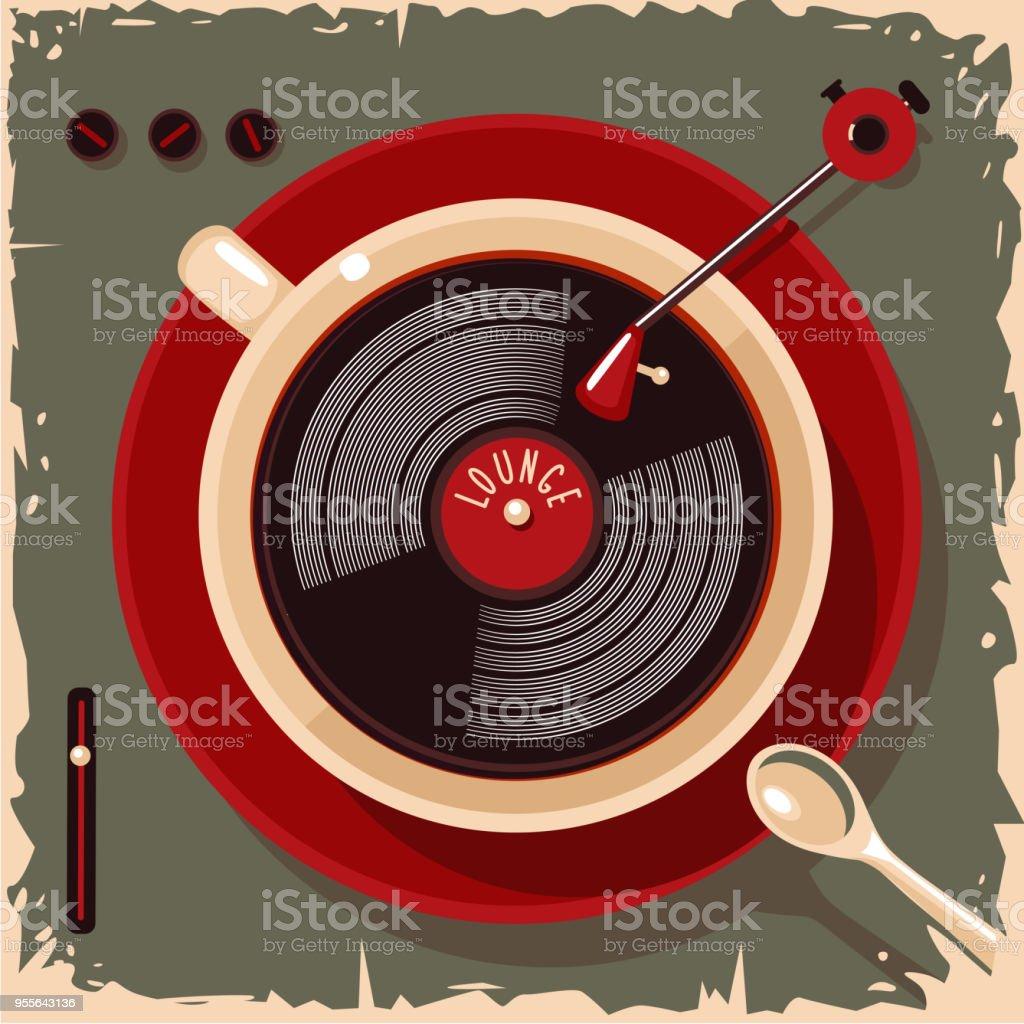 Ilustración de Taza De Café Con Disco De Vinilo Lounge Café Bar ...