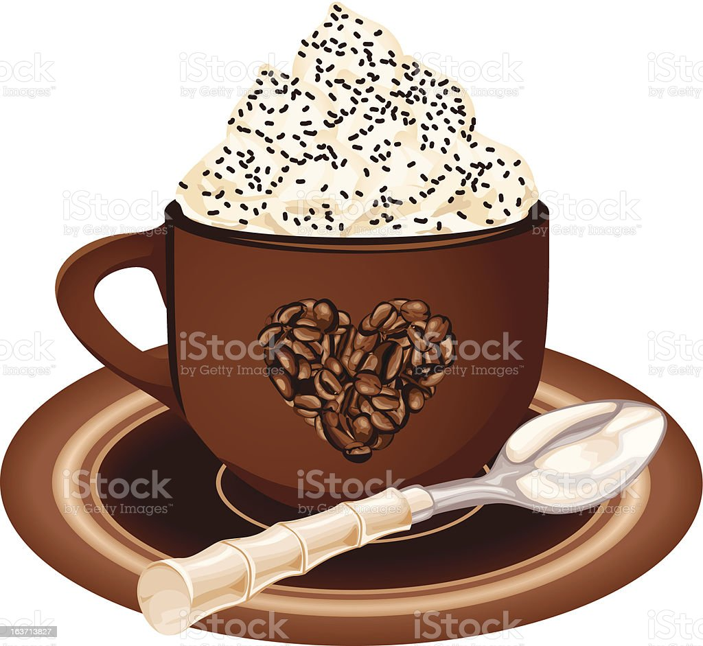 Coffee cup with whipped cream royalty-free stock vector art