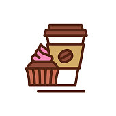 Coffee and cake vector icon. Vector EPS 10, HD JPEG 4000 x 4000 px
