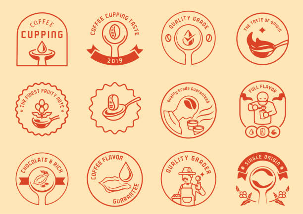 illustrazioni stock, clip art, cartoni animati e icone di tendenza di coffee cupping logo badge design - coffee farmer