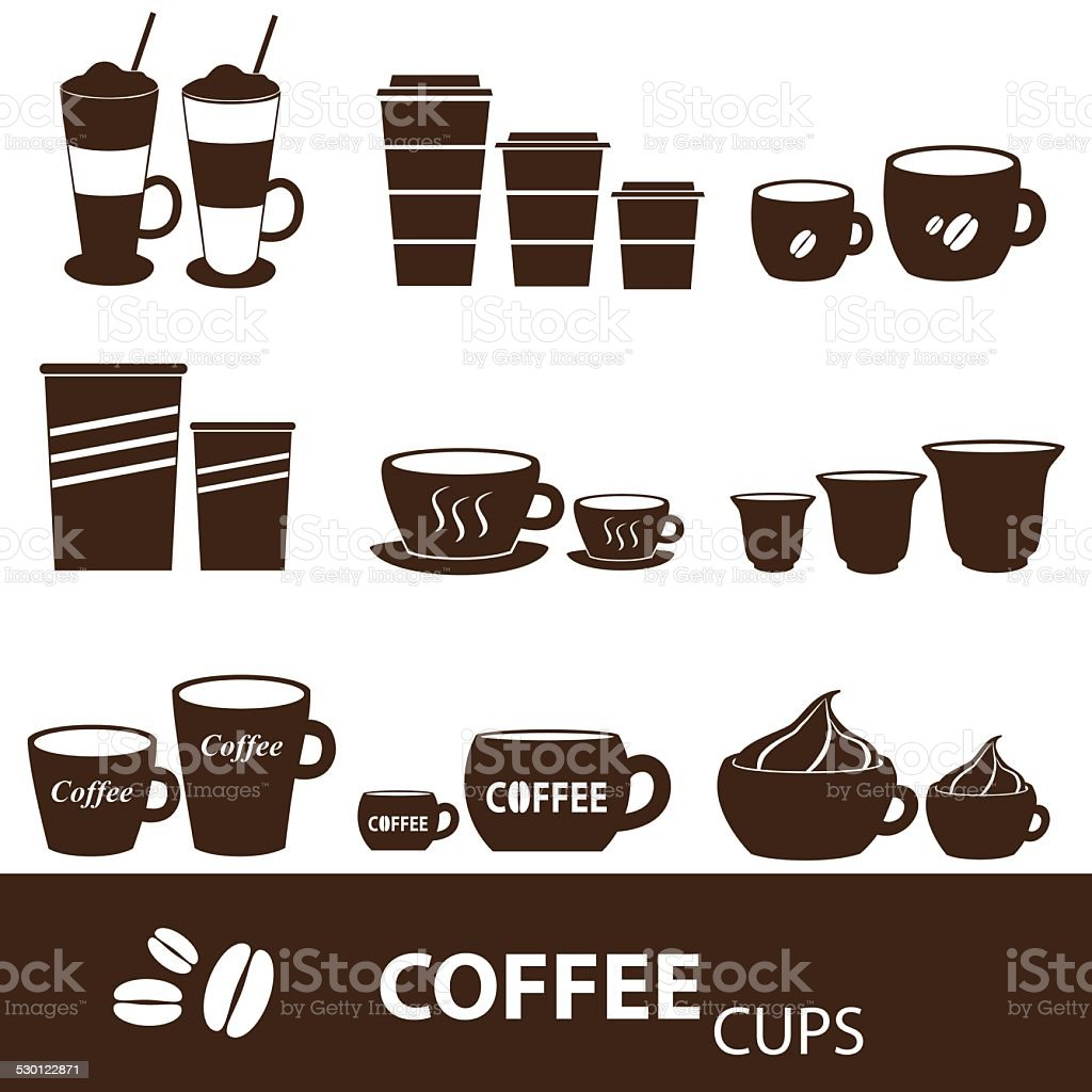 coffee cups and mugs sizes variations icons set eps10 vector art illustration