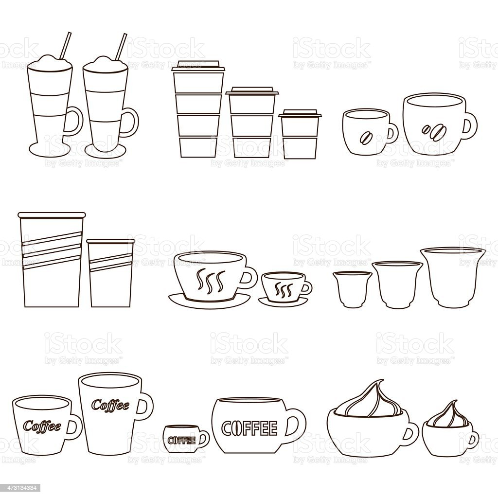 coffee cups and mugs sizes variations outline icons set eps10 vector art illustration