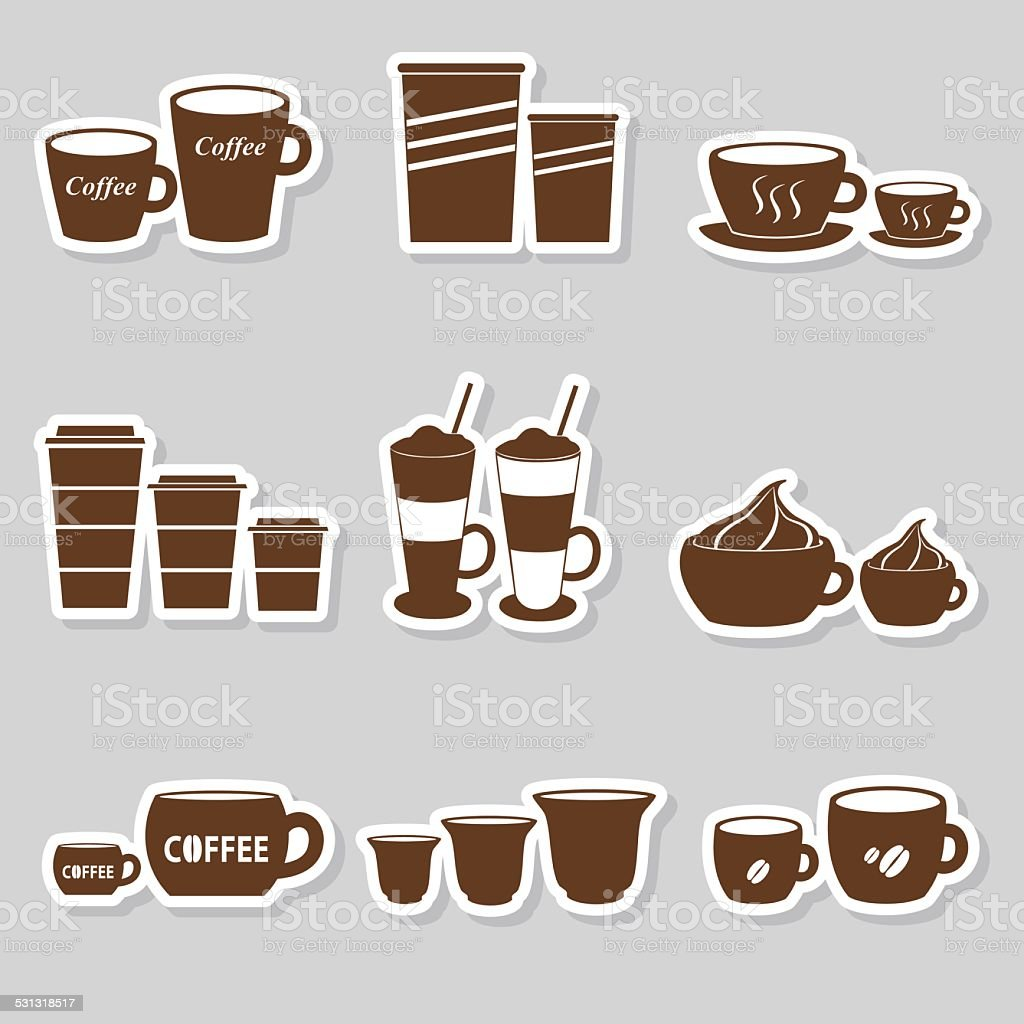 coffee cups and mugs sizes variations stickers set eps10 vector art illustration