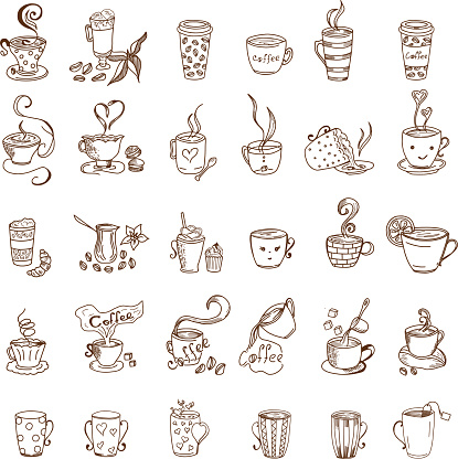 Coffee Cups and Tea Cups Doodles set