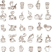Coffee and tea cups doodles set. Vector illustration