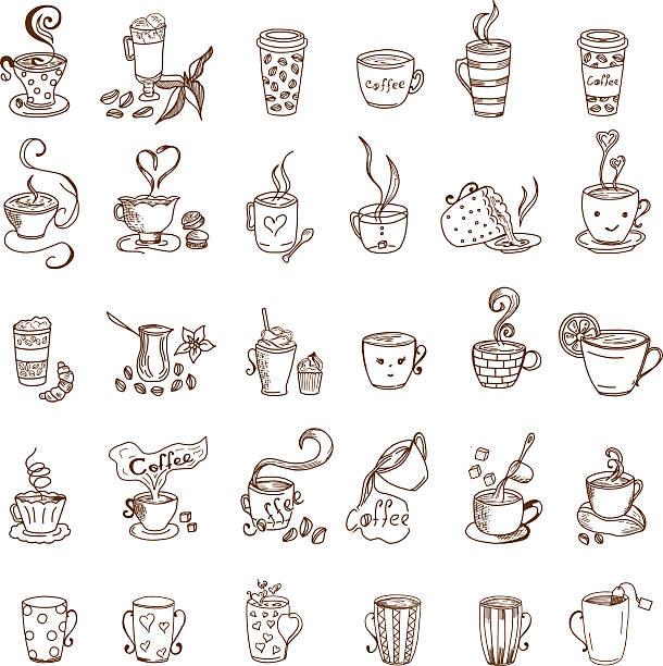 ilustrações de stock, clip art, desenhos animados e ícones de coffee cups and tea cups doodles set - chá bebida quente