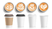 Coffee Cups Art Top View Vector. Plastic, Paper White Empty Fast Food Take Out Coffee Menu Mugs. Various Ocher Paper Cups. Breakfast Beverage. Realistic Illustration